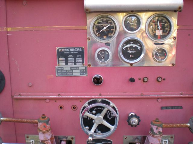 1959 Pirsch fire engine - pump controls