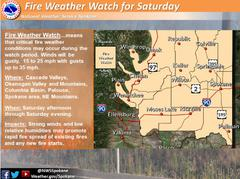 Fire Weather Watch for Saturday 7-27-19